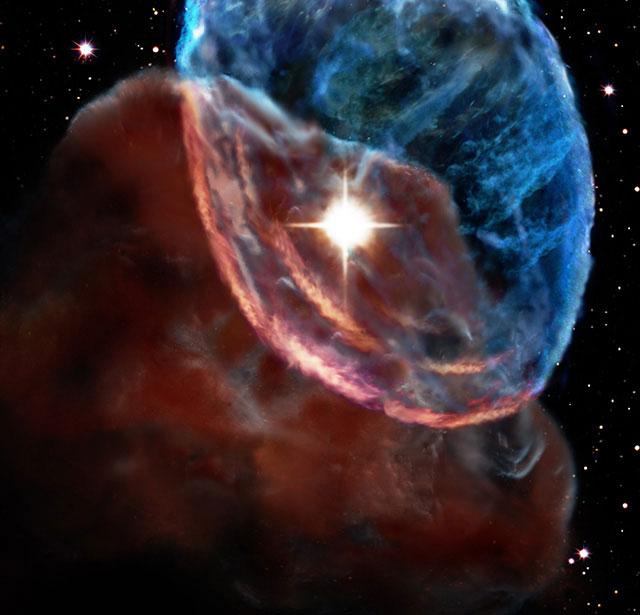 Simulação da onda de choque da supernova W44, feita pela Universidade Keio.