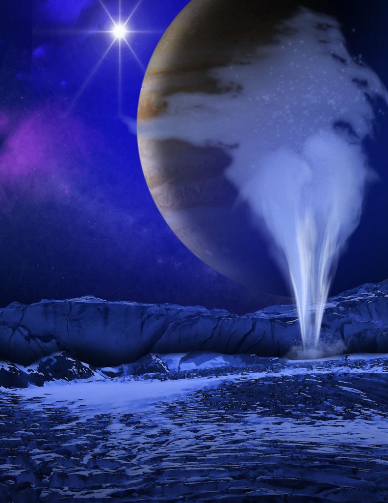 Concepção artística de pluma de água ejetada de Europa (Crédito: Nasa)
