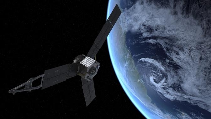 Concepção artística da passagem da sonda Juno pela Terra