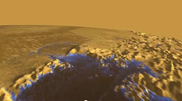 Simulação de sobrevoo por mares de Titã
