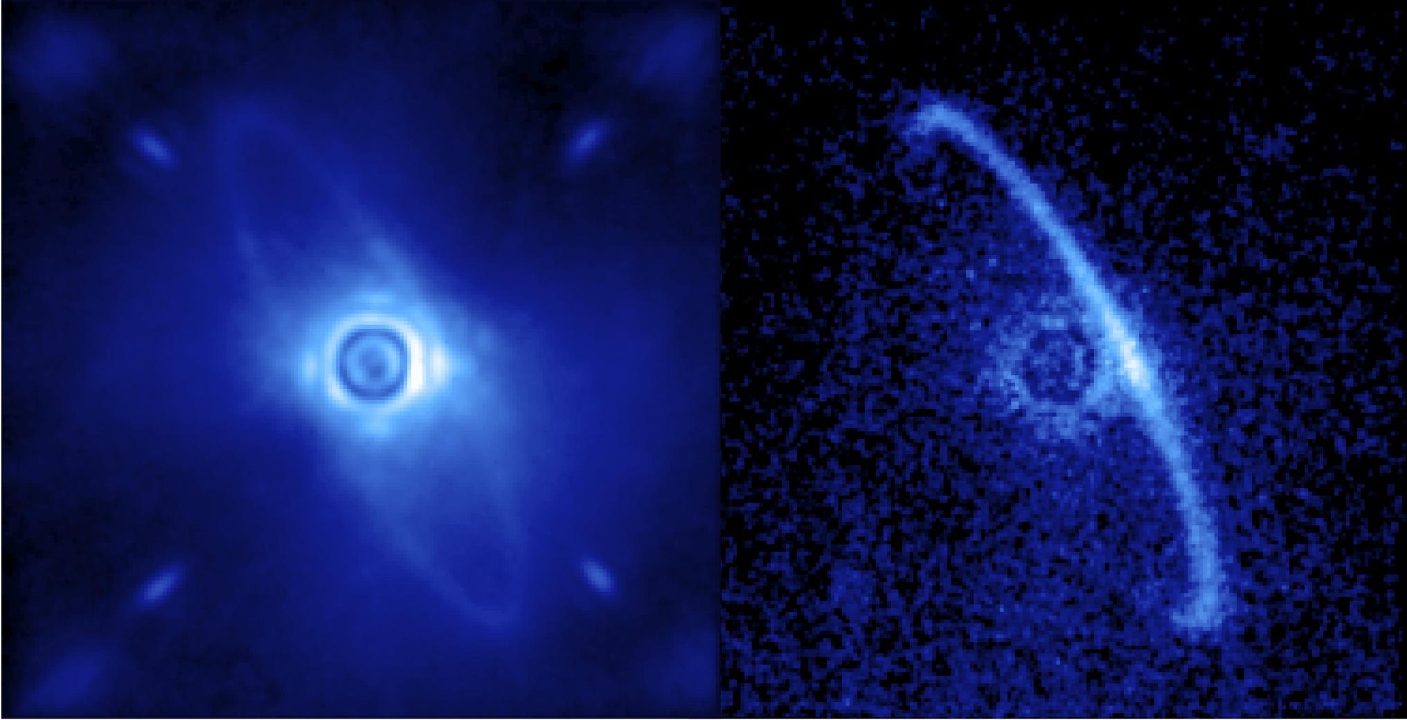 Imagens do disco de poeira (em versão luz normal e polarizada) em torno da estrela HR4796A