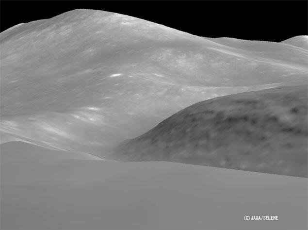 Reconstrução 3D do local de pouso da Apollo 15 feita pela sonda Kaguya