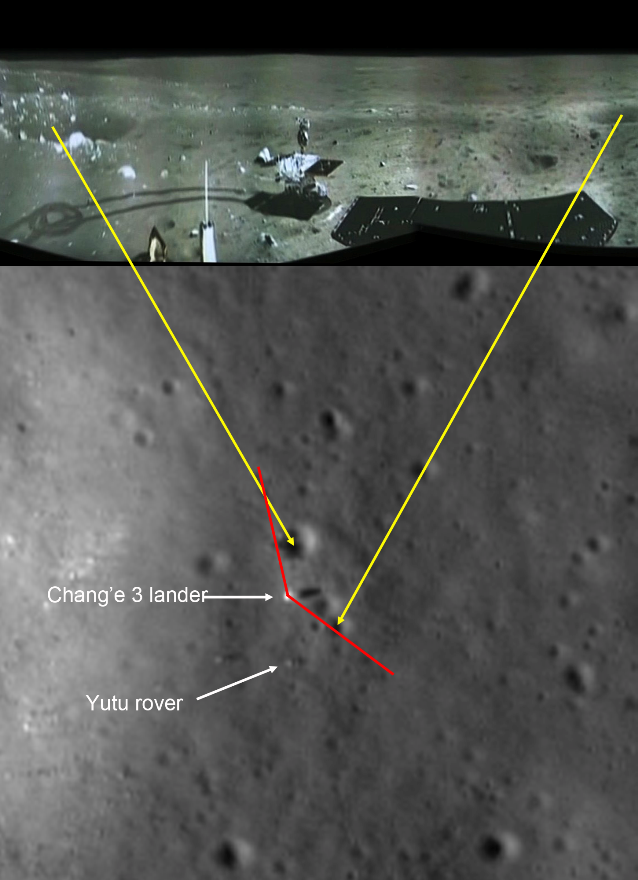 Imagem panorâmica do solo lunar obtida pela Chang'e-3 em comparação com visão do satélite americano LRO