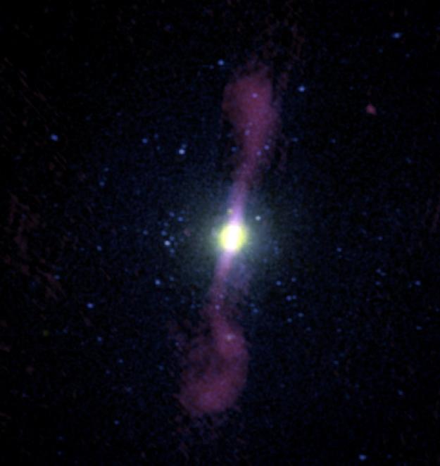 A galáxia elíptica NGC 1399 não tem gás. E é possível ver os poderosos jatos gerados pelo buraco negro supermassivo em seu núcleo