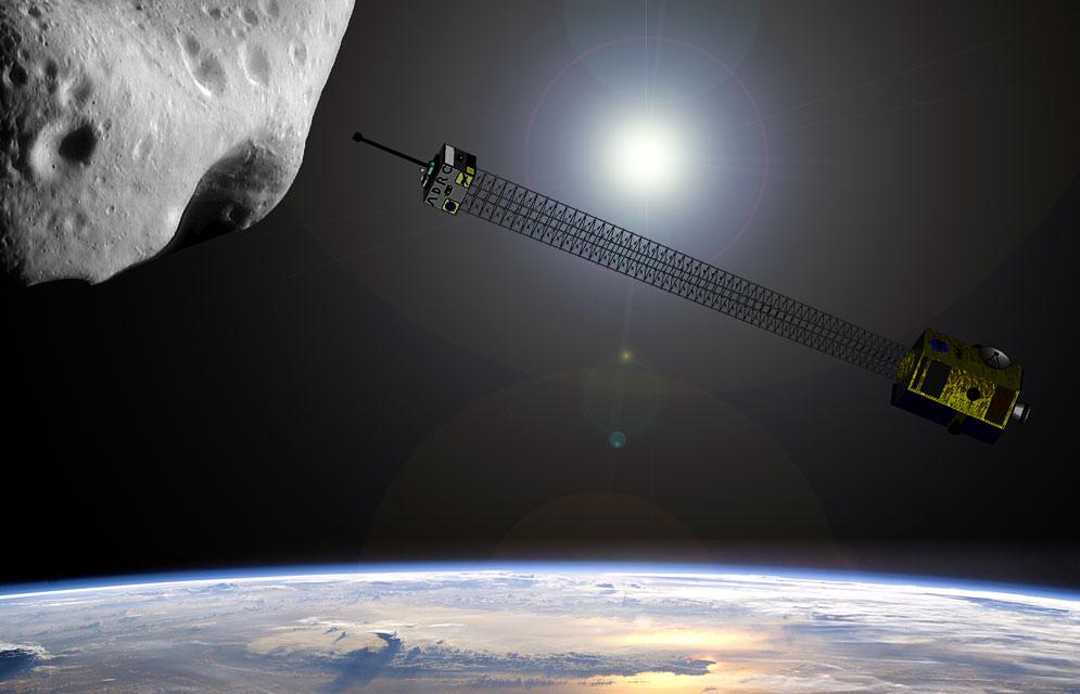 Concepção artística da nave nuclear que destruiria asteroides ameaçadores