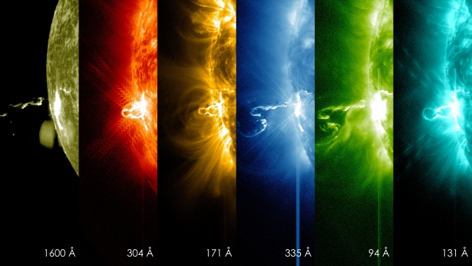 Início de erupção solar registrada em várias frequências no dia 24 de fevereiro pelo satélite SDO