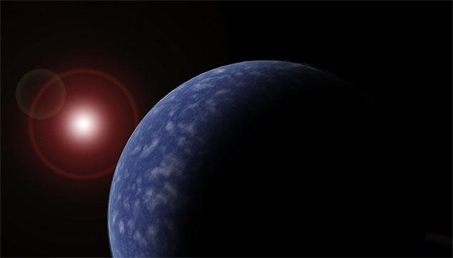 Concepção artística de um dos planetas recém-descobertos, em torno de uma estrela anã vermelha