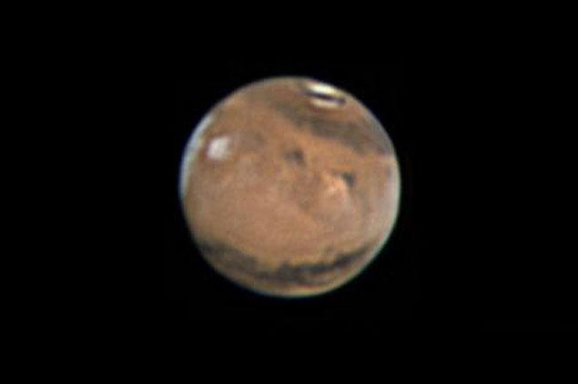 Marte registrado pelo astrofotógrafo Flávio Fortunato, em Maceió, no dia 30 de março de 2014, perto da oposição anterior.