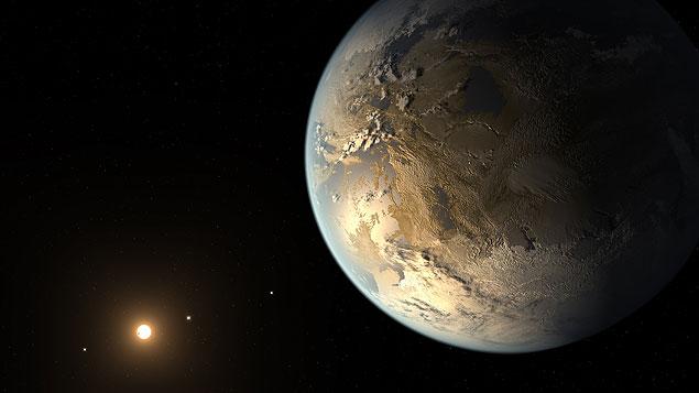 Concepção artística do planeta Kepler-186f: mesmo tamanho da Terra e capaz de abrigar água em estado líquido