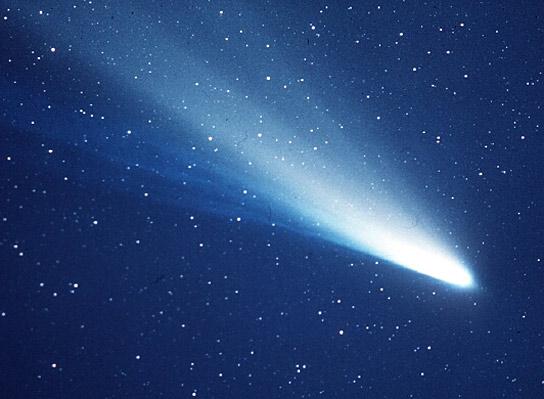 Imagem do cometa Halley feita durante passagem dele pelas redondezas da Terra