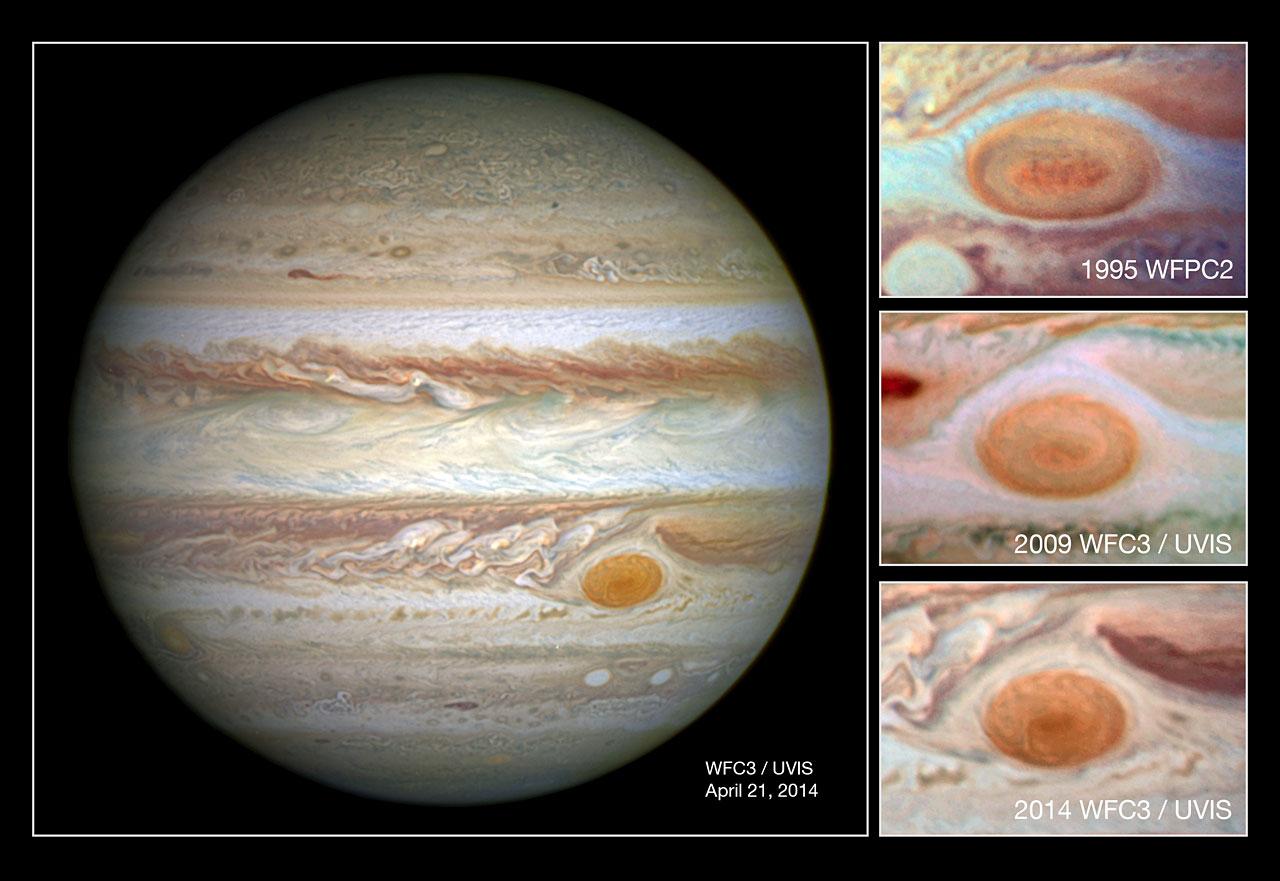 Sequência de imagens mostra a recente diminuição da Grande Mancha Vermelha