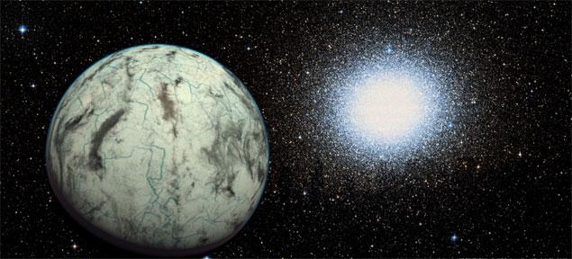 Ilustração do planeta Keptayn b, ao lado do aglomerado globular associado à sua estrela-mãe (Crédito: PHL/Divulgação)