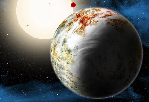 A megaterra Kepler-10c. Imensa, mas rochosa. Ao fundo, o vizinho Kepler-10b, ainda maior e quase colado à sua estrela.