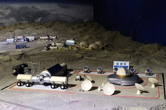Maquete da futura base lunar chinesa (Crédito: CNSA/Divulgação)