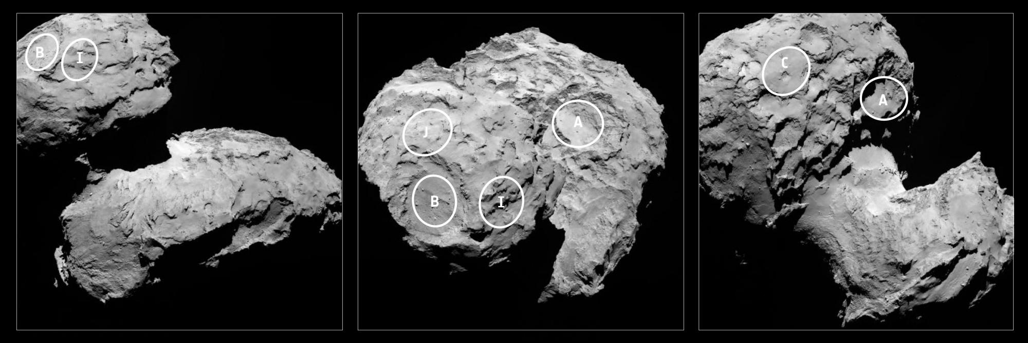 Os cinco possíveis locais de pouso para o Philae, pré-selecionados de uma lista de dez
