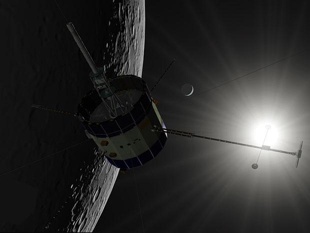 Concepção artística da sonda ISEE-3 sobrevoando a Lua, neste domingo.