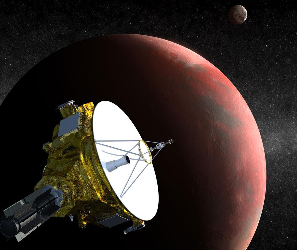 Ilustração mostra a sonda New Horizons se aproximando de Plutão e a maior de suas luas, Caronte.