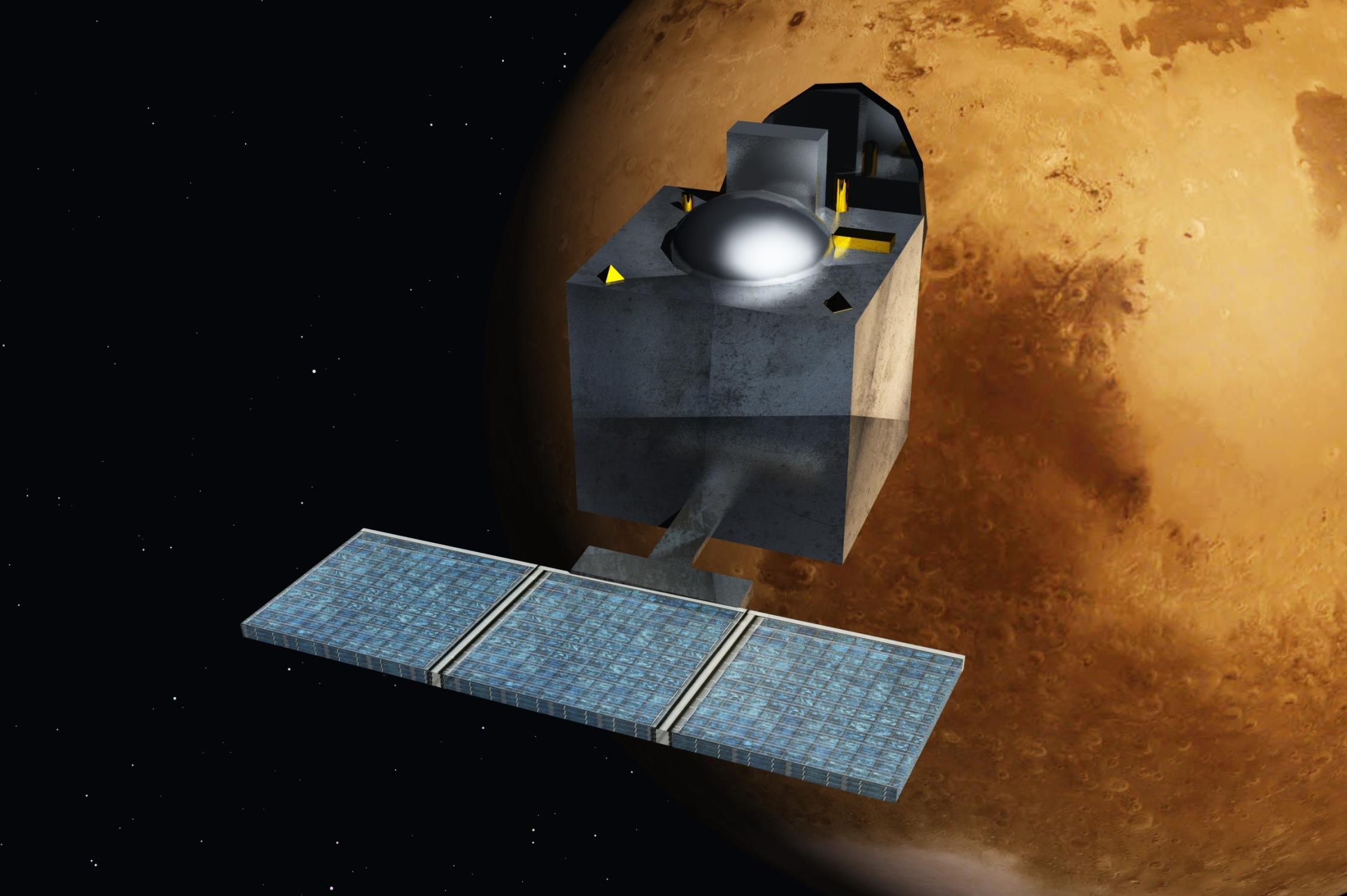 Concepção artística da MOM, primeira missão indiana a Marte.