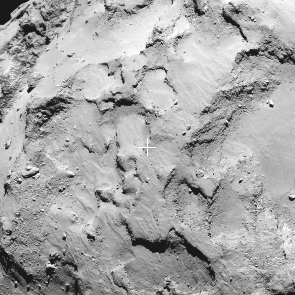 O sítio J, na superfície do cometa Churyumov-Gerasimenko, local de pouso escolhido pela ESA