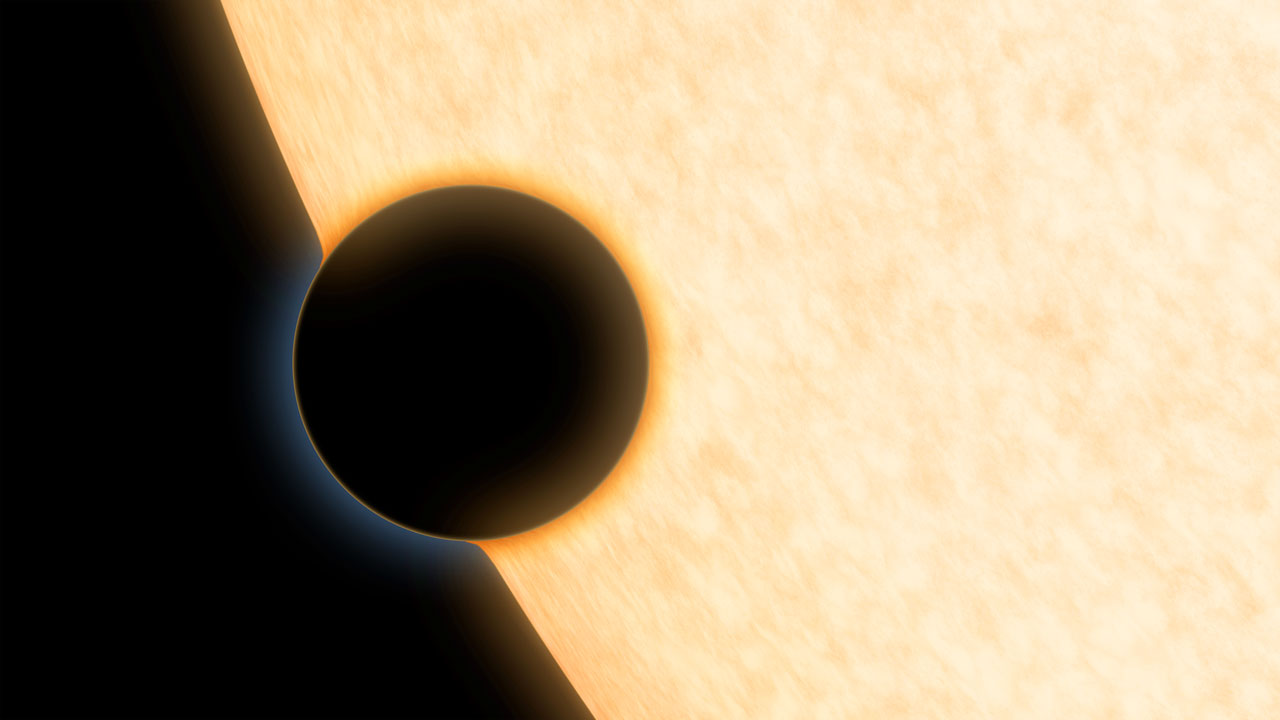 Concepção artística do planeta HAT-P-11b. Ao passar à frente da estrela, ele permite o estudo de sua atmosfera.