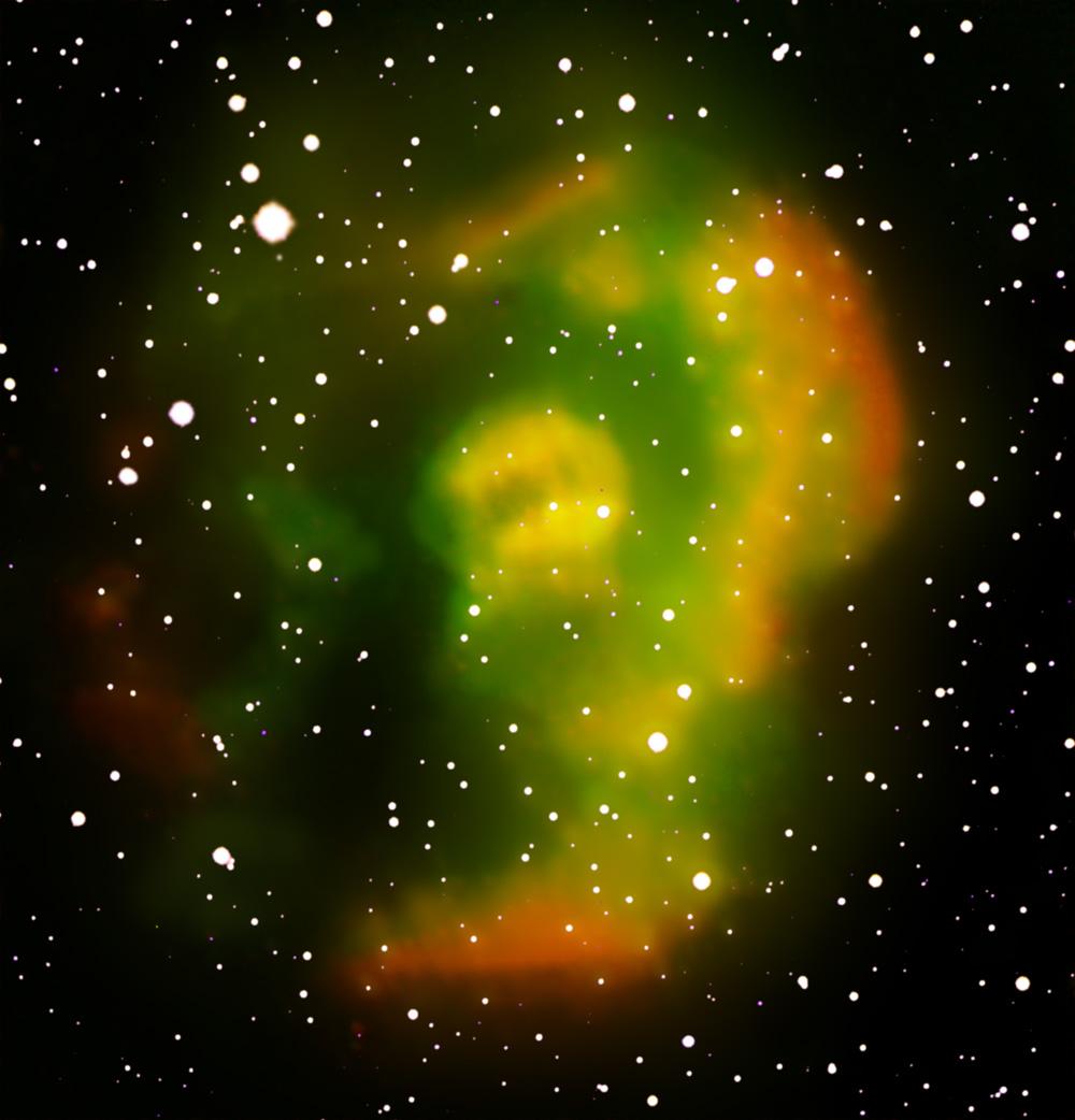 Uma das nebulosas planetárias recém-descobertas pelo IPHAS.