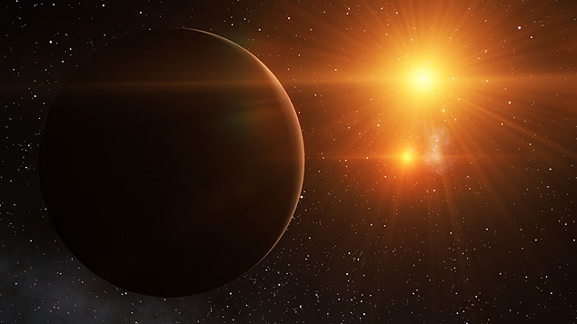 Concepção artística de Kepler-16b, um planeta que já sabemos ter dois sóis