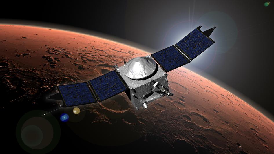 Concepção artística da sonda Maven em órbita ao redor de Marte