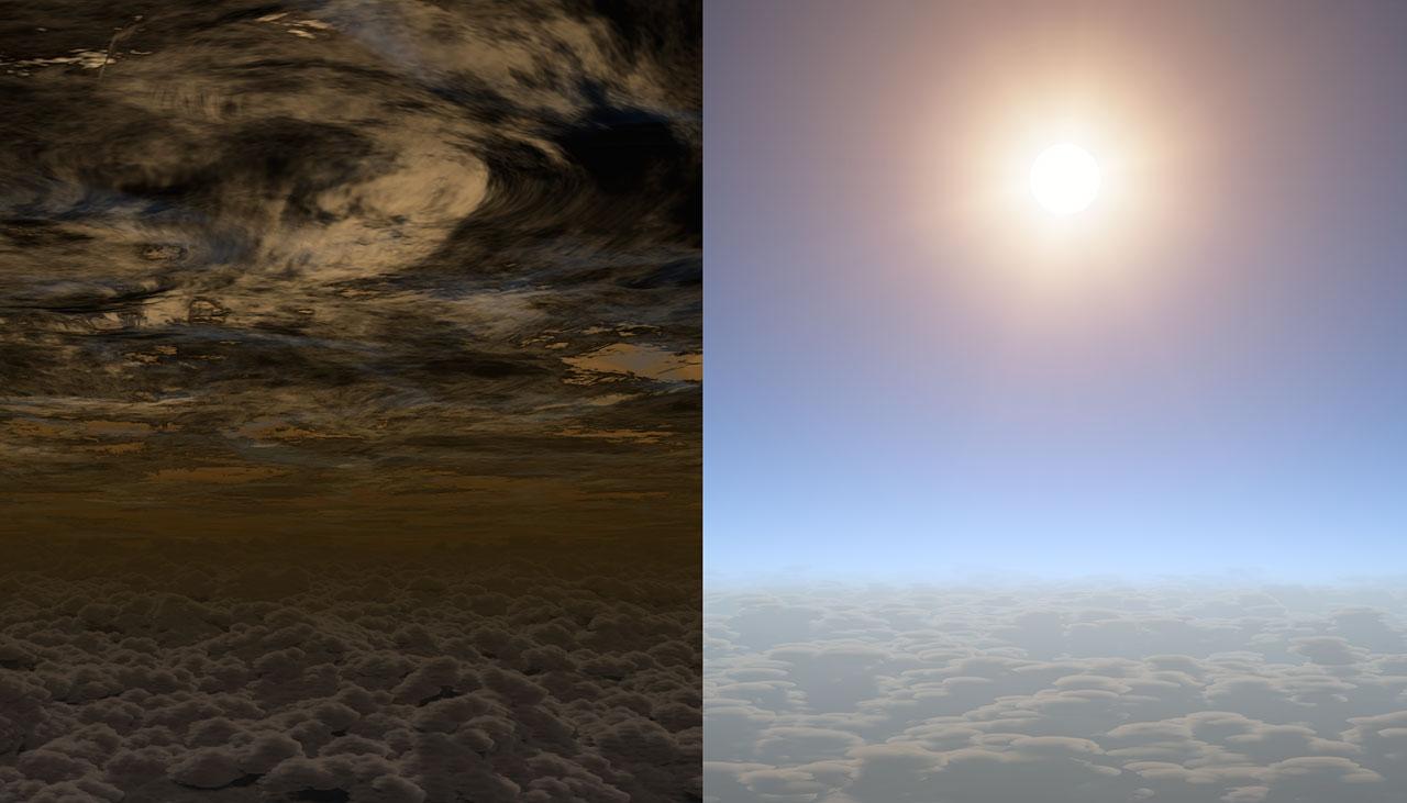 Um exoplaneta nublado em comparação com o HAT-P-11b, que tem céus livres e permite o estudo de sua atmosfera.