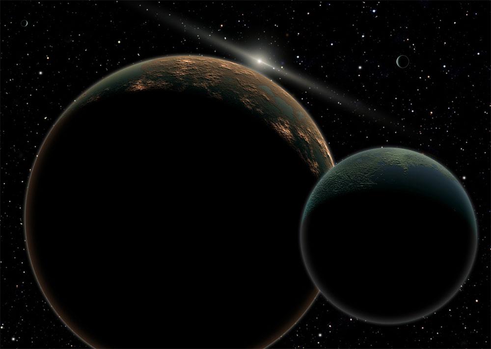 Concepção artística de Plutão e sua maior lua, Caronte. Ao fundo, o Sol, rodeado pelo cinturão de asteroides.
