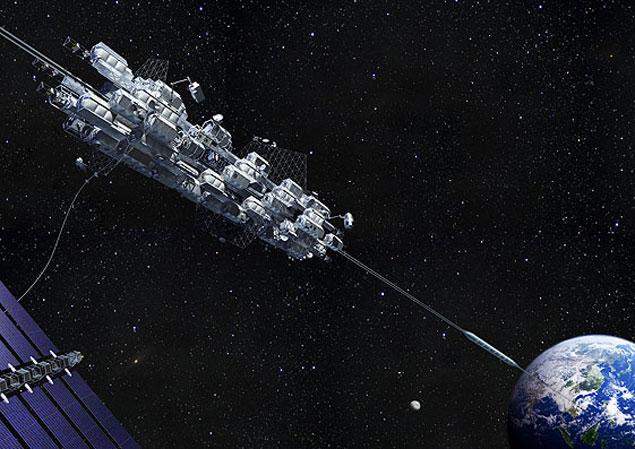 Concepção artística do elevador espacial da Obayashi Corporation. Sobe?