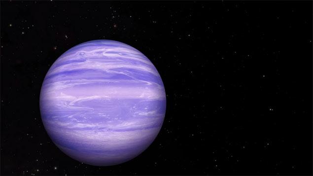 Concepção artística do planeta órfão W0855, que abriga nuvens de água em sua atmosfera.