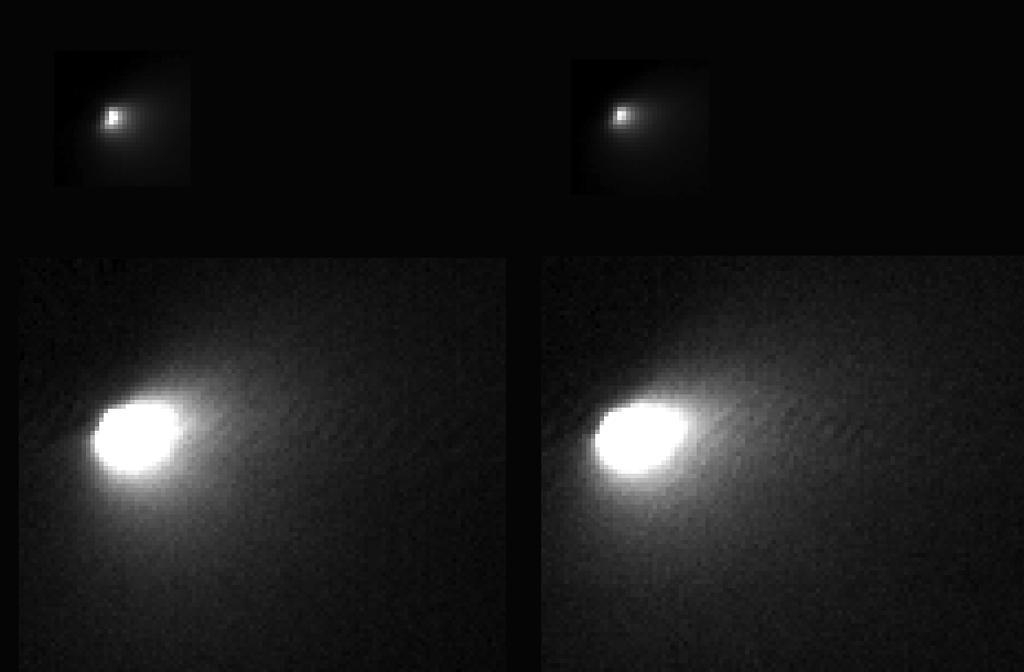 Imagens captadas pela sonda MRO: acima, pixels brancos representam o núcleo do cometa; abaixo, aumento de exposição revela atividade circundante.