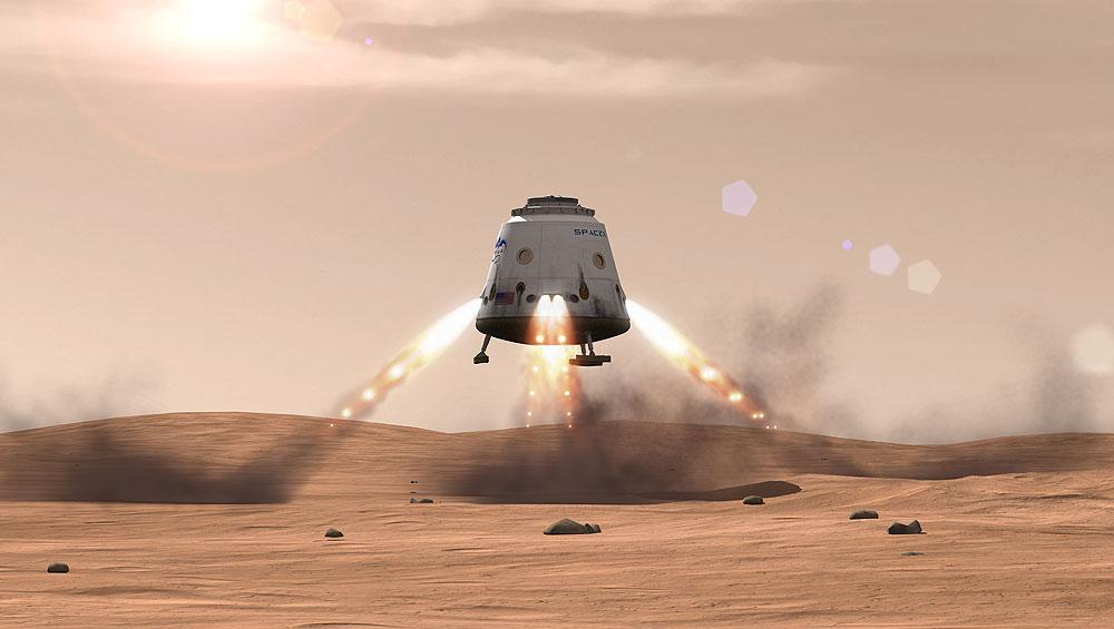 """Concepção artística de uma missão solo da """"Red Dragon"""", da empresa americana SpaceX."""