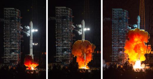 Lançamento do foguete Longa Marcha 3C com a nova espaçonave lunar chinesa.