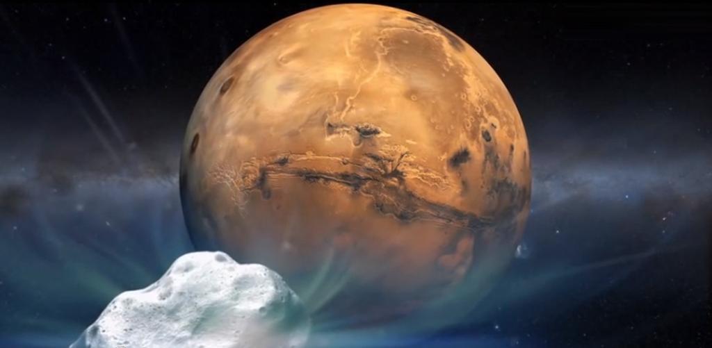 Concepção artística do cometa Siding Spring a caminho de Marte. Vai errar por pouco.