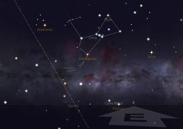 Carta estelar mostra o horizonte leste à 1h do dia 21, em São Paulo.