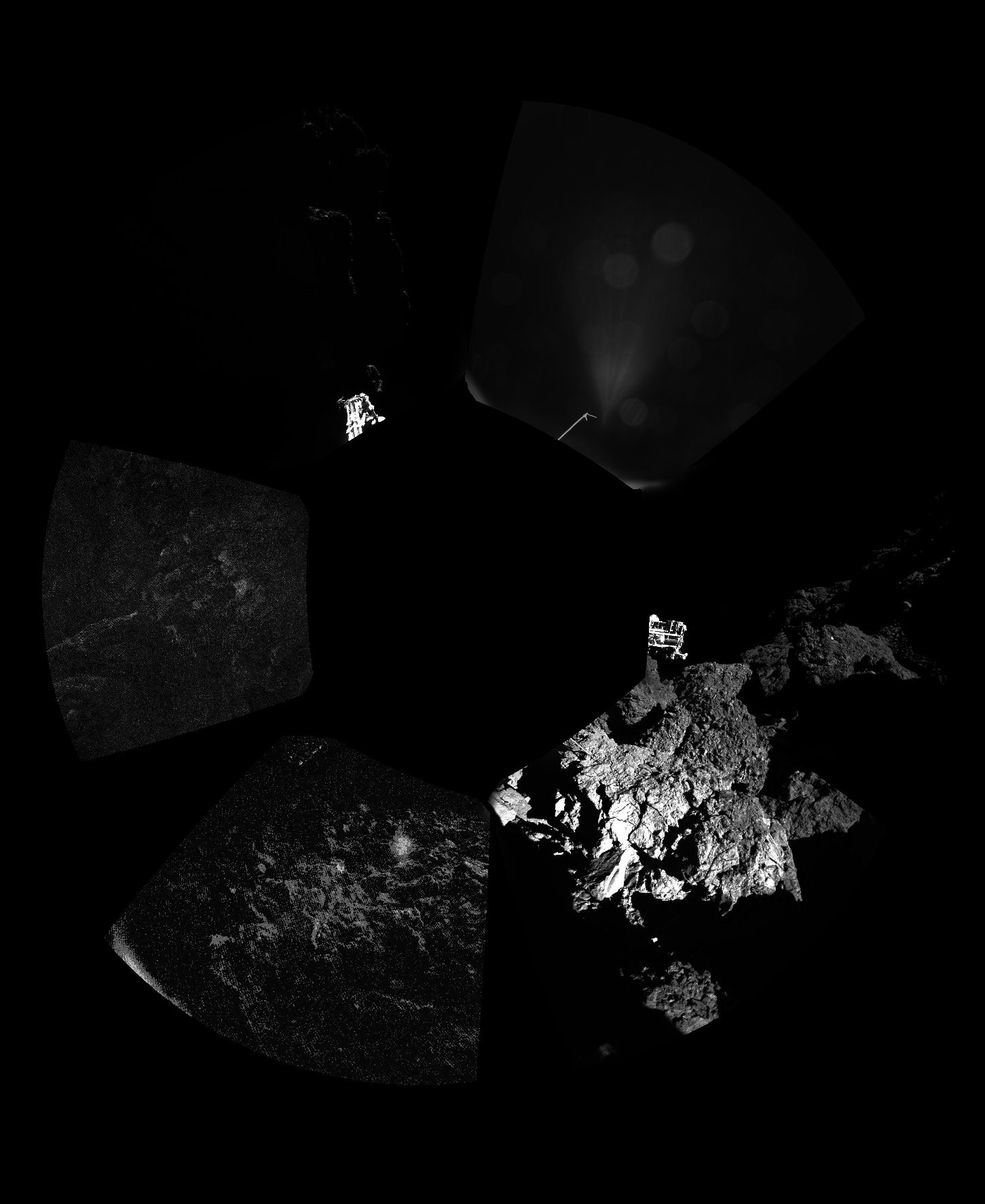 Imagem panorâmica da região de pouso do Philae, na beira de um penhasco. Ops!
