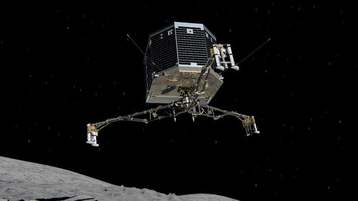 Concepção artística do Philae descendo na direção do cometa.