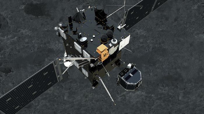 O Philae se separa da Rosetta para pouso no cometa.