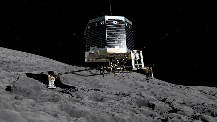 Concepção artística do pouso do Philae no cometa. Será que foi?