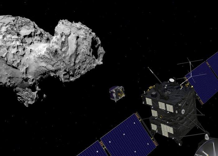 Concepção artística do Philae após se desprender da Rosetta. Manobra se iniciou às 6h35.