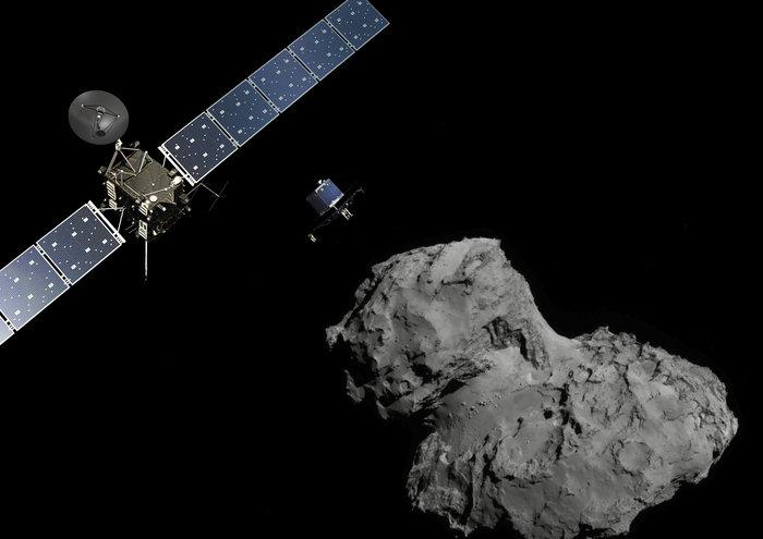 Concepção artística do módulo Philae descendo rumo ao cometa Churyumov-Gerasimenko
