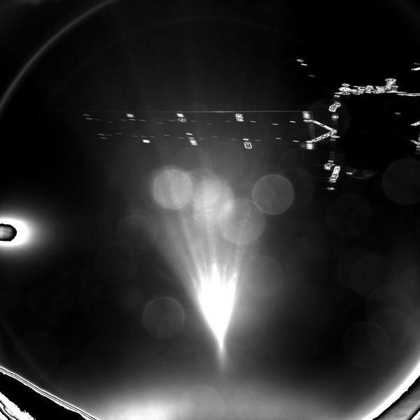 """O """"adeus"""" do Philae ao se despedir da Rosetta e iniciar o pouso."""