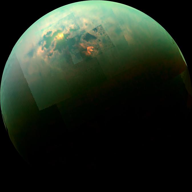 Composição da imagens da sonda Cassini revela reflexo do Sol nos mares de Titã.