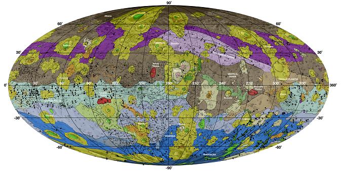 Um mapa geológico global de Vesta produzido com os dados da Dawn.