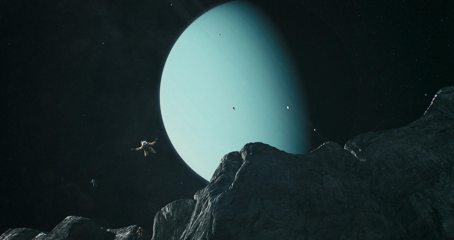 Saltando do abismo em Miranda, lua de Urano! Radical!
