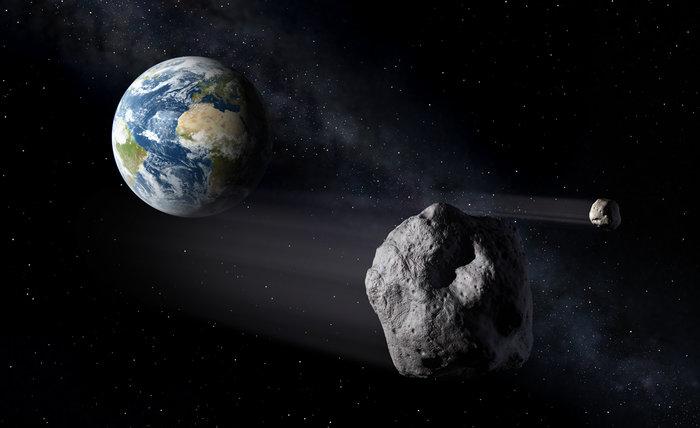 Asteroides passam de raspão pela Terra o tempo todo. Uma hora a casa cai. (Crédito: ESA)