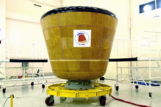 A cápsula indiana para voo tripulado, com capacidade para dois astronautas.