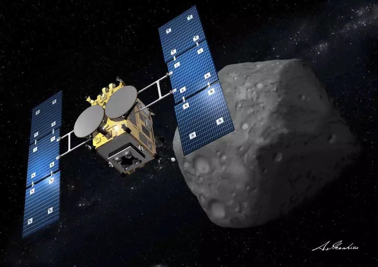 Concepção artística da Hayabusa 2 em voo ao asteroide 1999 JU3.
