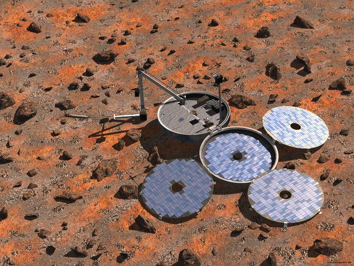 Caso tivesse aberto inteiramente, a Beagle-2 teria ficado assim. (Crédito: ESA)